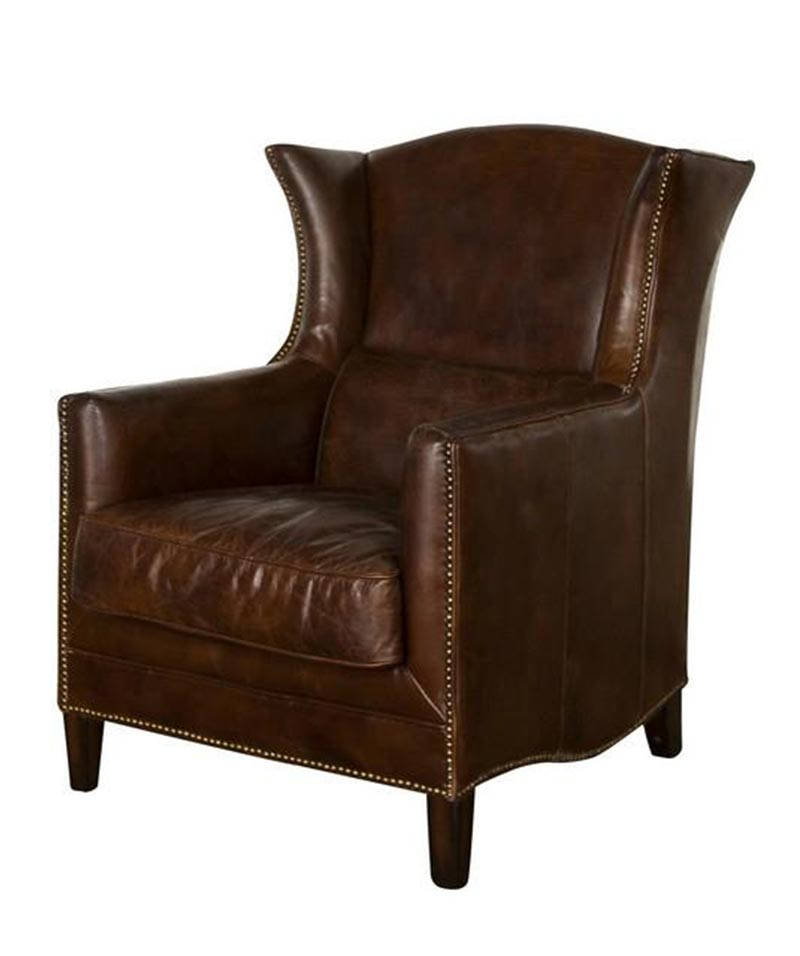 Wing Armchair In Vintage Cigar