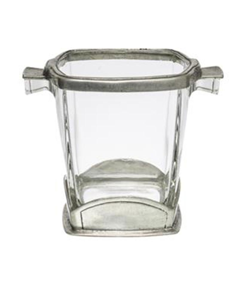 SQ Pewter/Glass Ice Bucket