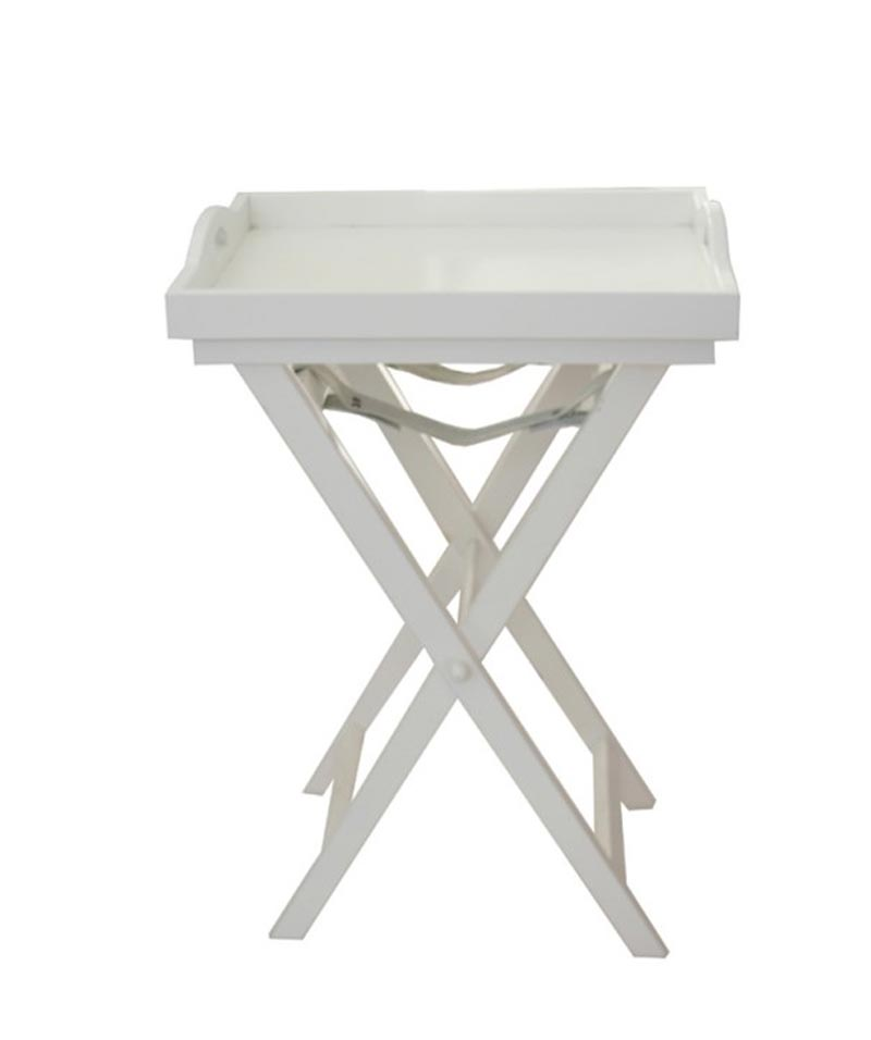 French Country White Wooden Tray Table