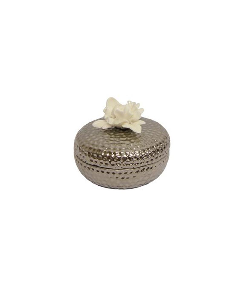Silver Flower Trinket Box