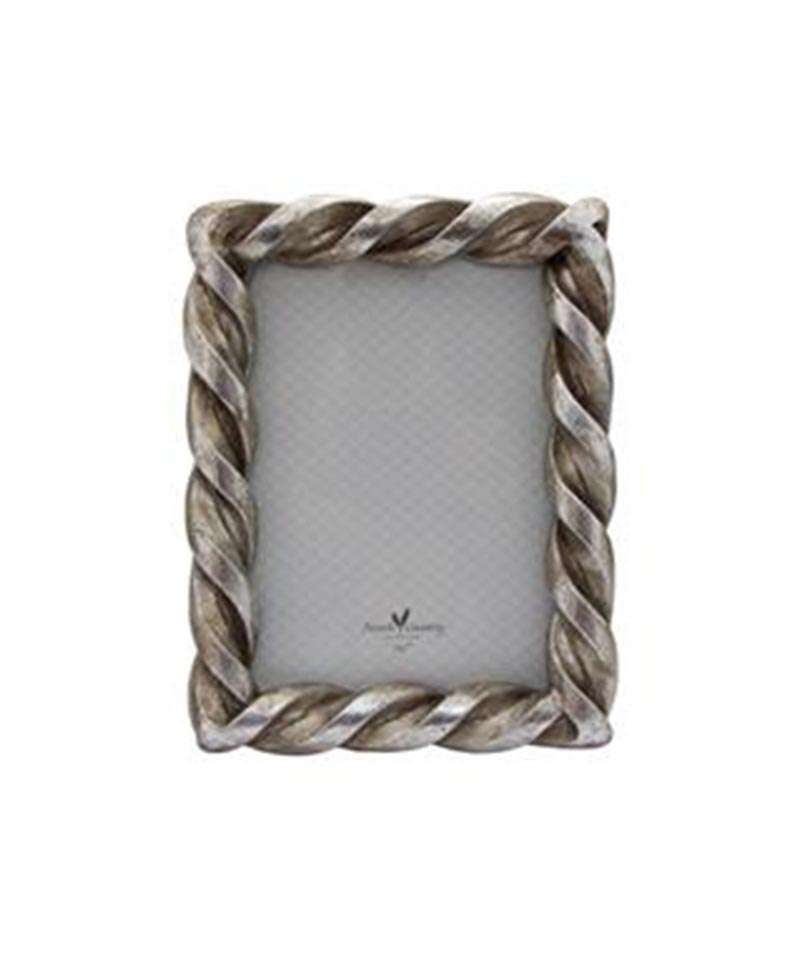 Rope Rectangle Pewter 5×7″