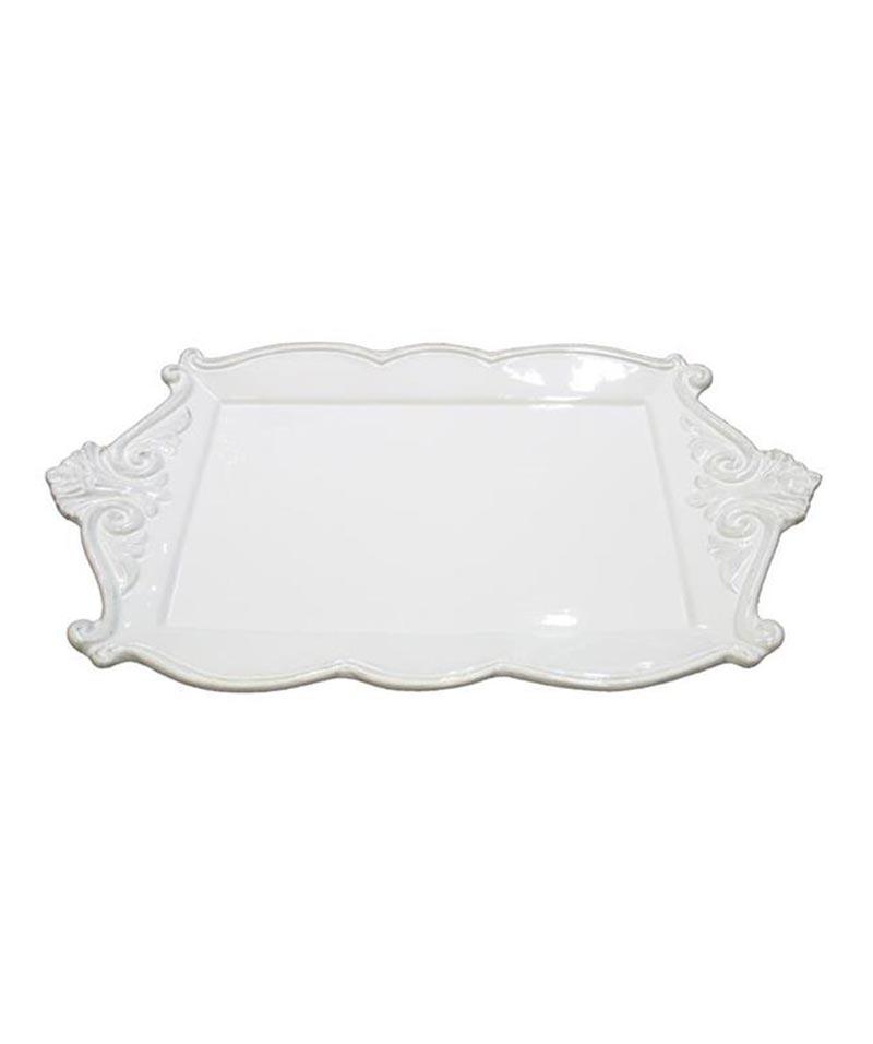 Rectangle White Ceramic Scroll Platter