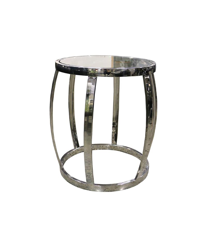 Drum Side Table Polished+Clear