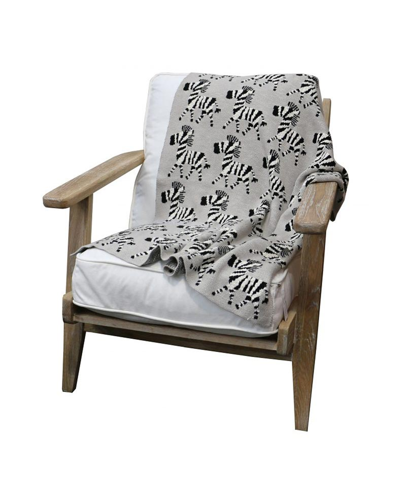 Cotton Zebra Throw Grey