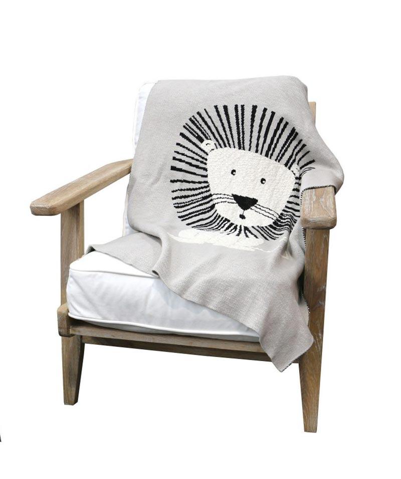 Cotton Single Lion Throw Grey