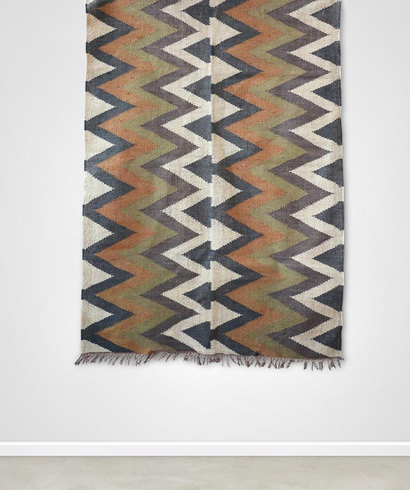 Organic Aztec Pattern Kilim Rug In Olive And Mustard – 1200mm Wide X 1800mm Long