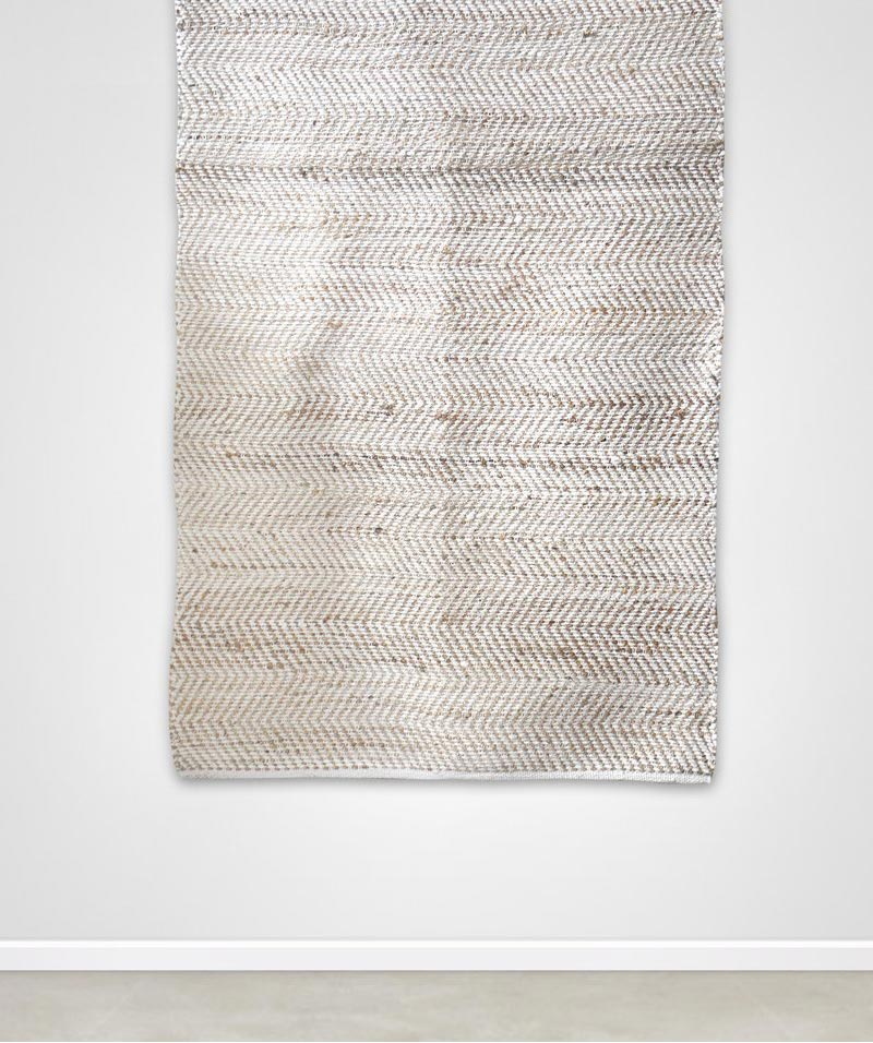 Small White Chenille And Jute Rug 120x180cm