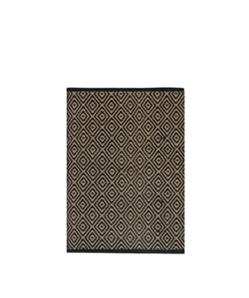 Rug Geometric/Diamond Jute Cotton Black Medium 90x150cm