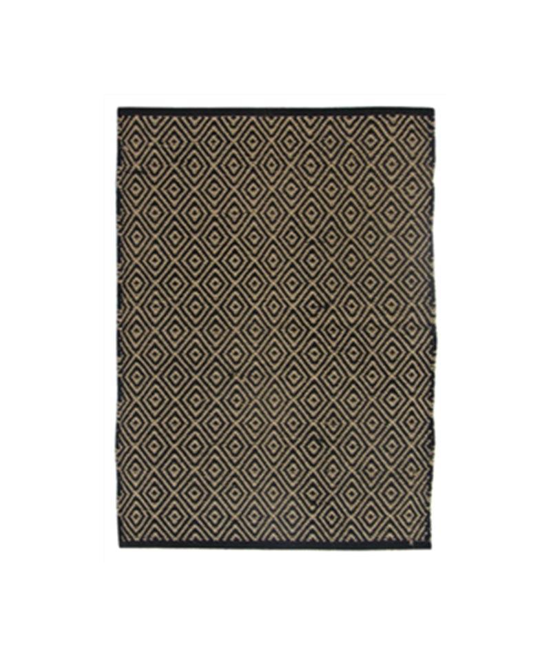 Rug Geometric/Diamond Jute Cotton Black 140x200cm