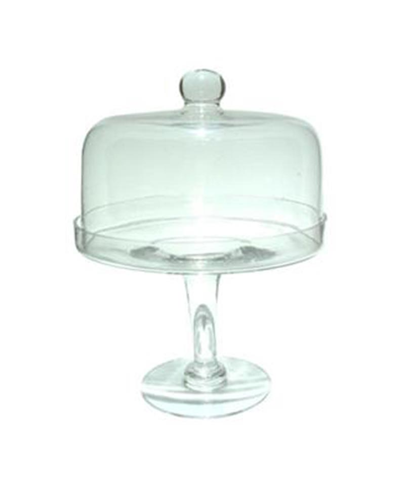 Large Short Glass Cake Stand With Cover