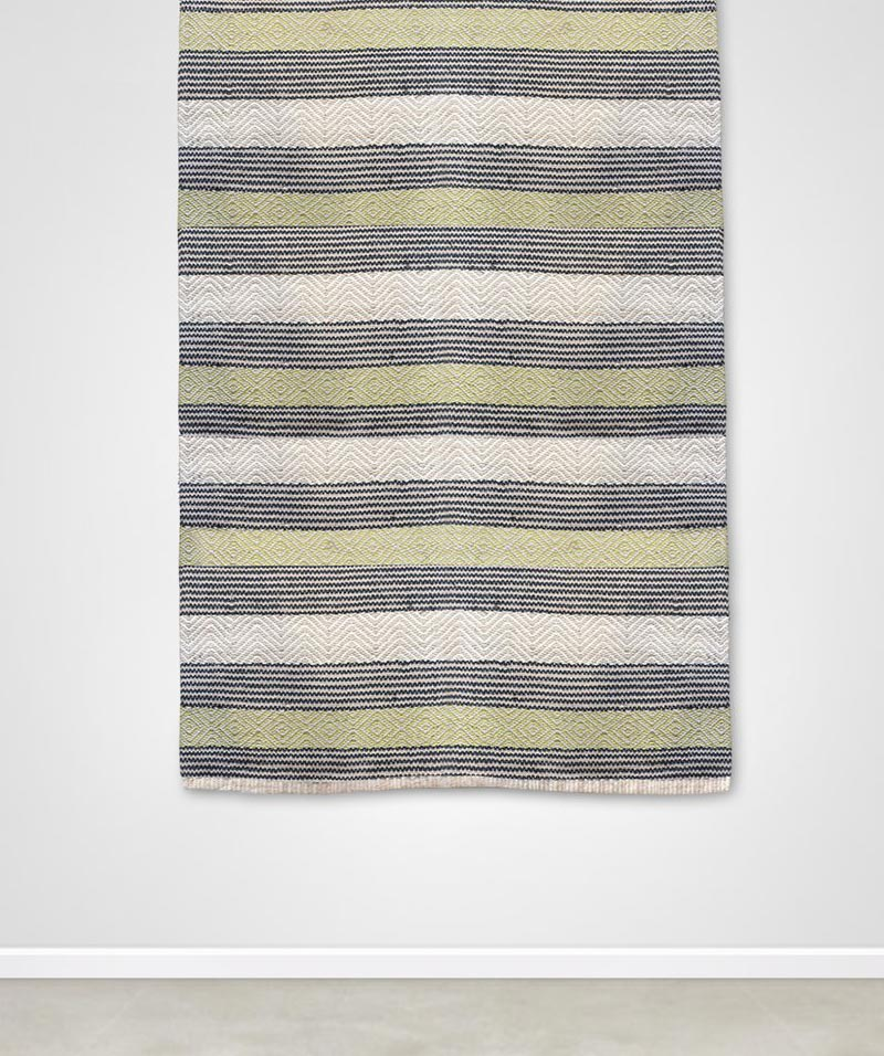 Chartreuse Cream & Charcoal Stripe Killim Rug 120x180cm