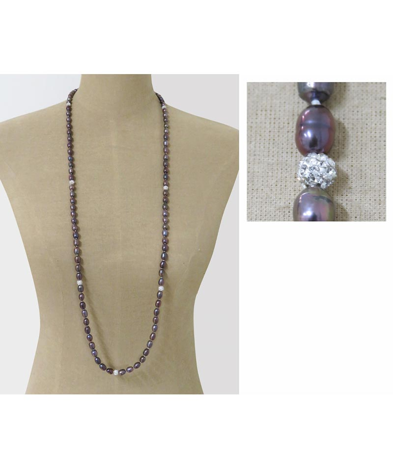 Peacock Rice Shape Pearl Necklace With Silver