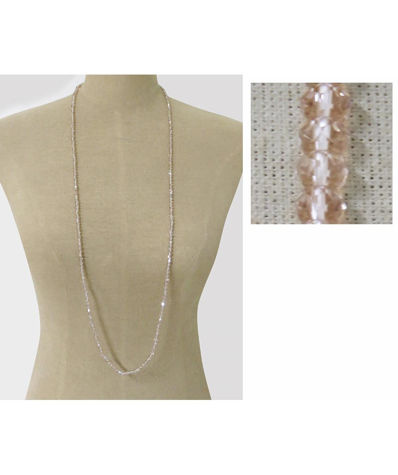Crystal Bead Necklace Champagne Pink