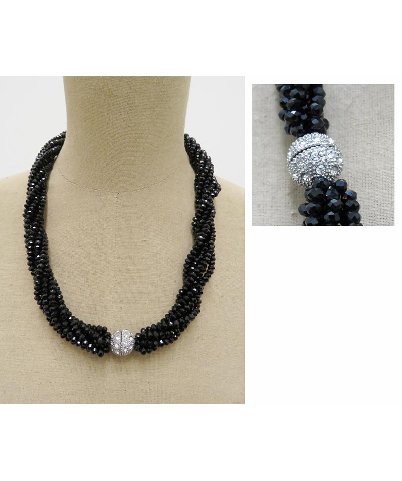 Strands Of Black Crystal Necklace