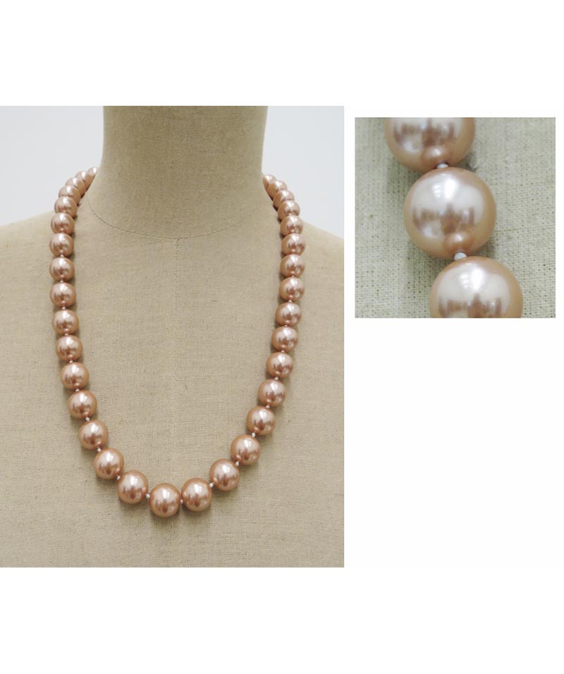 Mother Of Pearl Bead Necklace Champagne