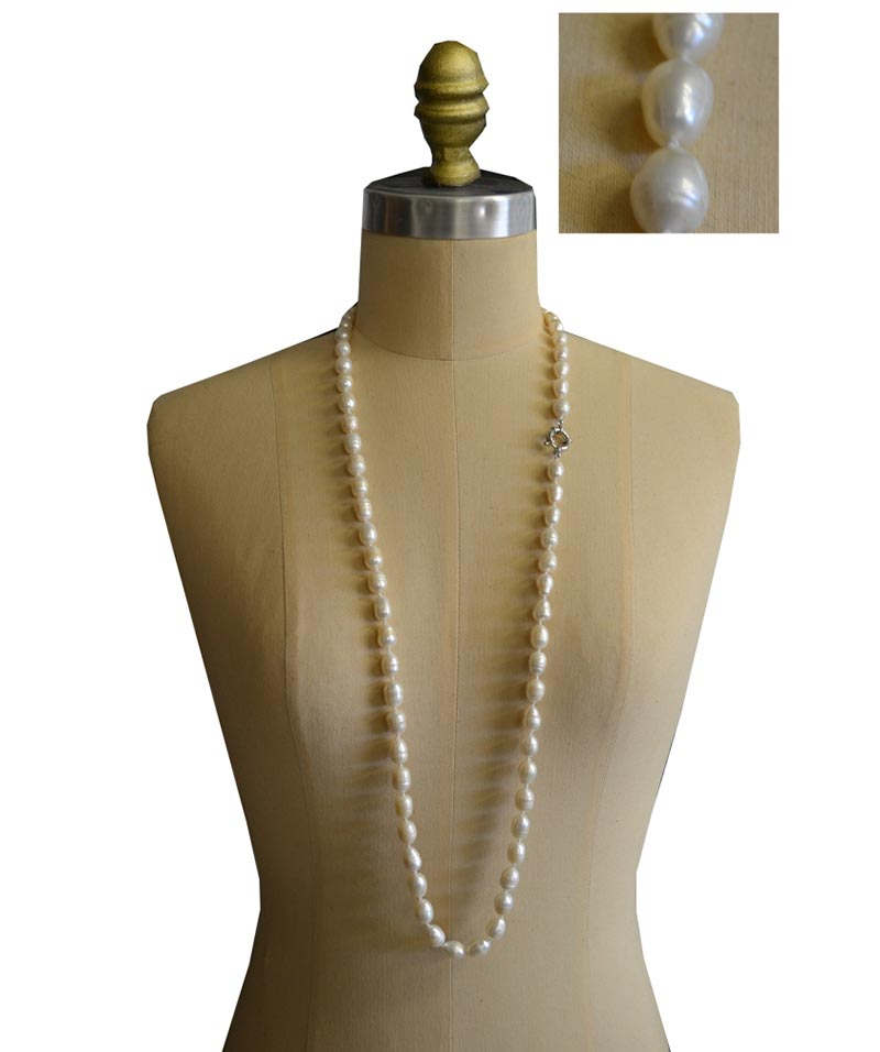 Cream Grand Rice Shape Pearl Necklace 8mm