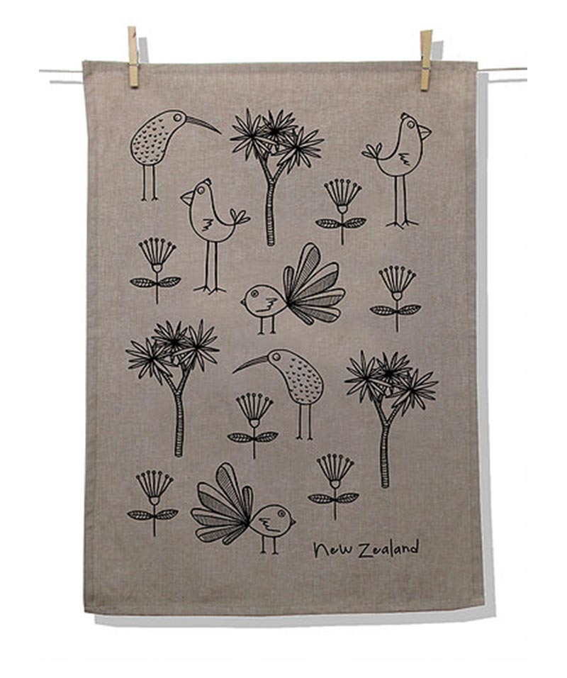 Tea Towel Natural – NZ Birds