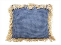 Byron Cushion with Jute Fringe - Dark Blue