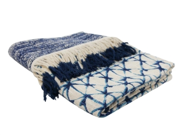 Byron Throw With Fringe – Blue And White