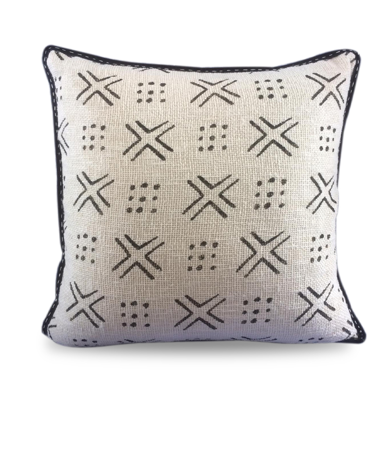 Cover Pillow Mudcloth Cotton Print Black