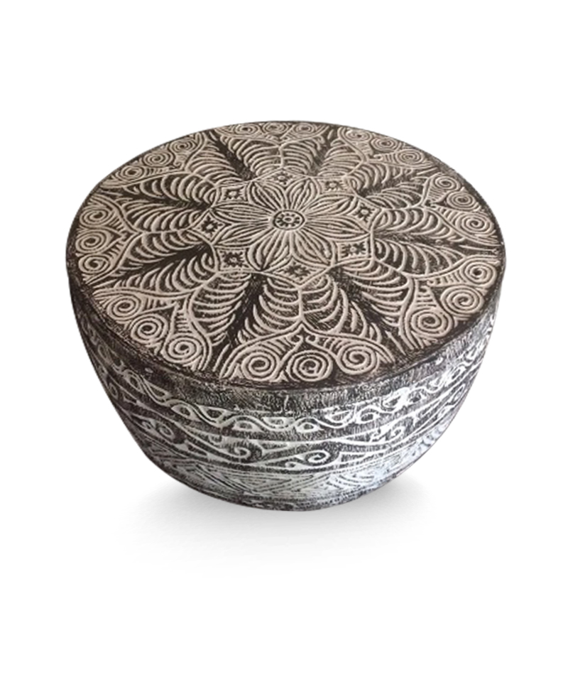 Round Coffee Table Sumba Mandala Black