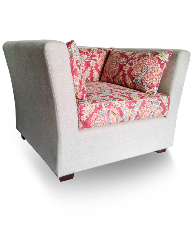 Single Sofa – Hometown 29 Putty (Body Sofa), Holi Festival Jewel (Seat And Cushion)