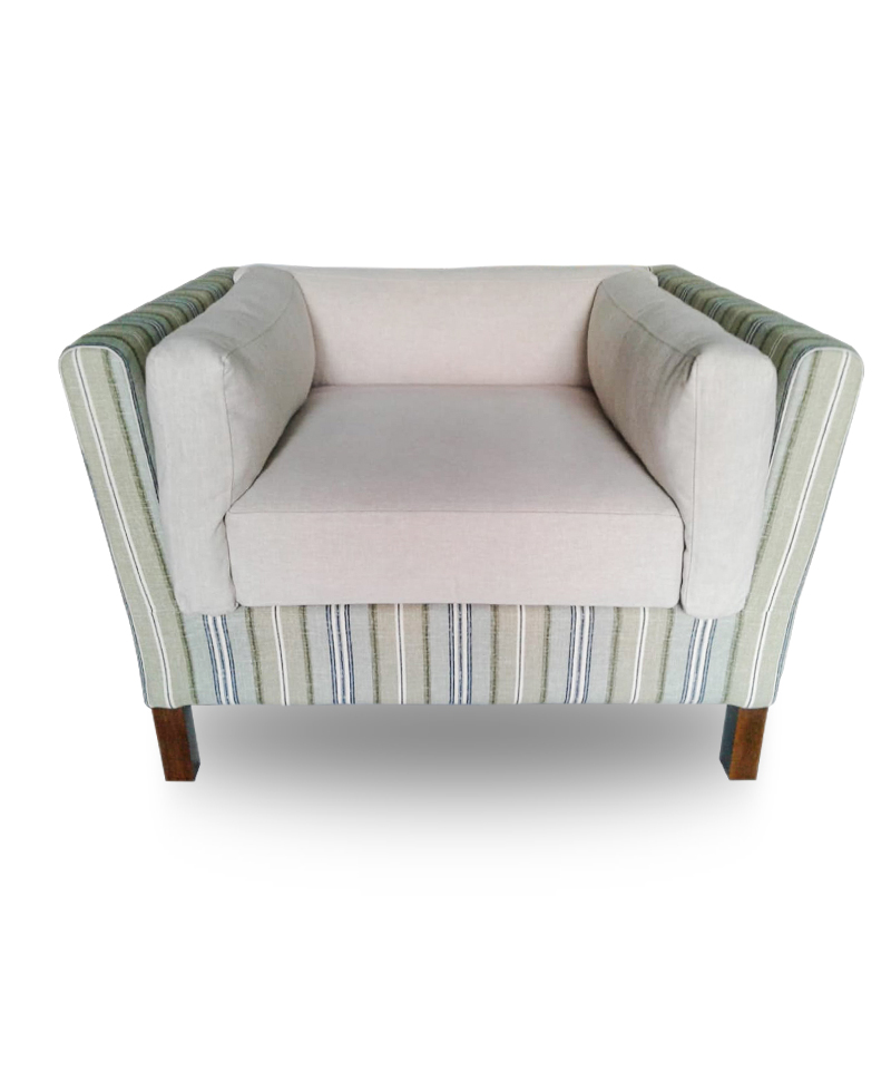 Single Sofa – Whitacker Cotton Mulhouse Stripe Clifside Breeze (Body Sofa), Hometown 27 Cookie (Seat And Back)