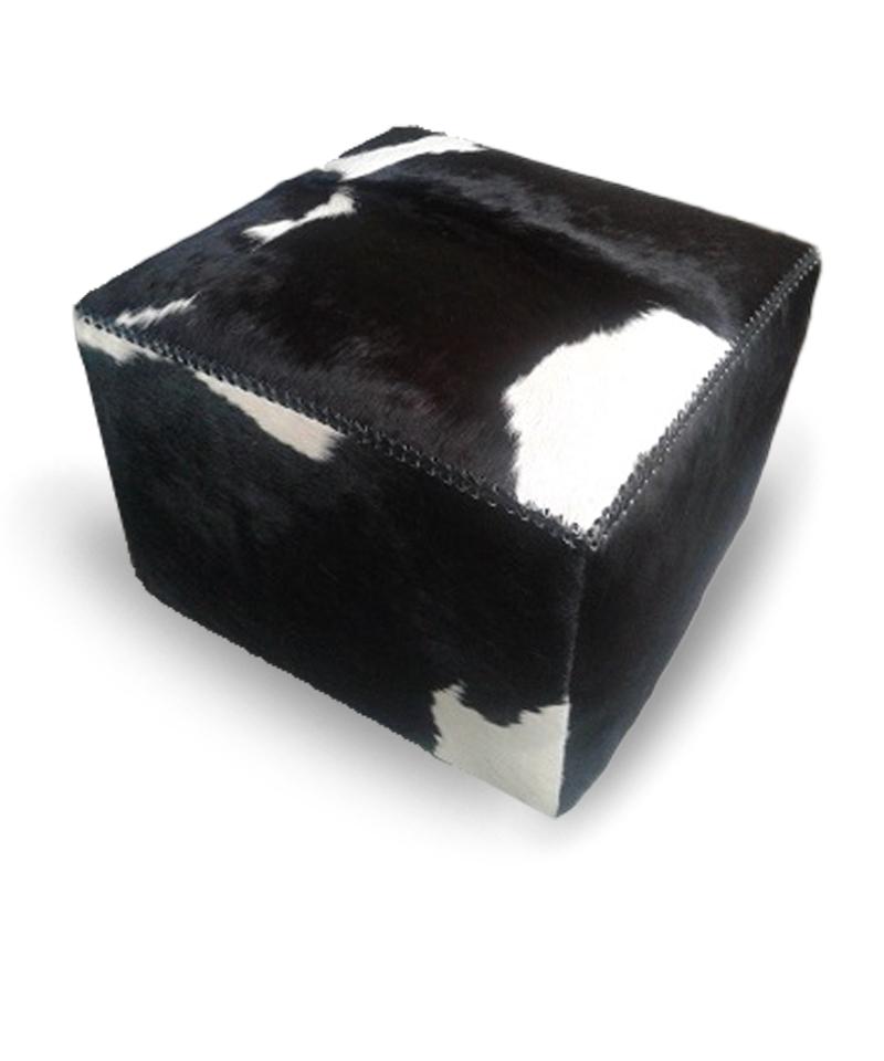 POF Square Black And White Cowhide