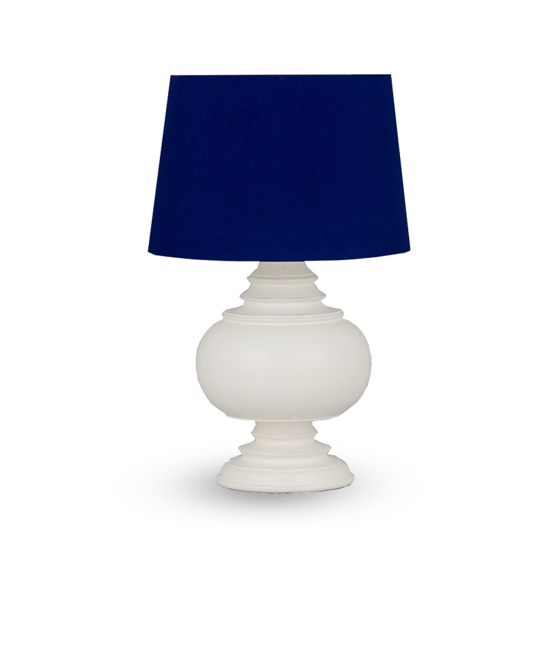 Table Lamp & Shade – White / Blue Cotton
