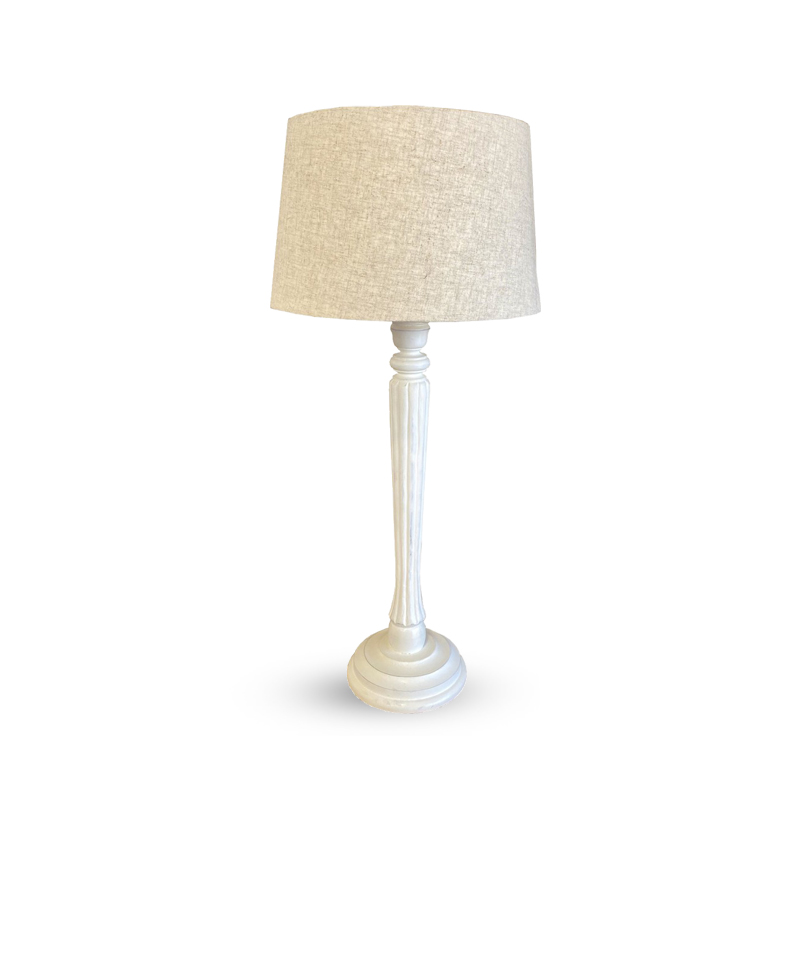 Table Lamp And Shade – White / Natural Linen