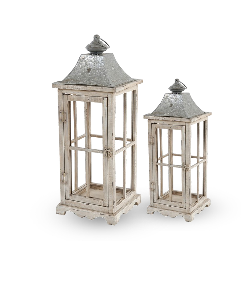 S/2 Evelyn Enclosed Lanterns With Handle